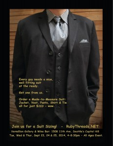 Seattle Suit-Ordering Event, Sept. 23, 24 & 25, 4-9pm @ Seattle | Washington | United States